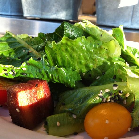 Baby Romaine Salad: Pork Belly Croutons, Charred Truffle Vinaigrette @ Gigi BBQ•Noodles•Beer