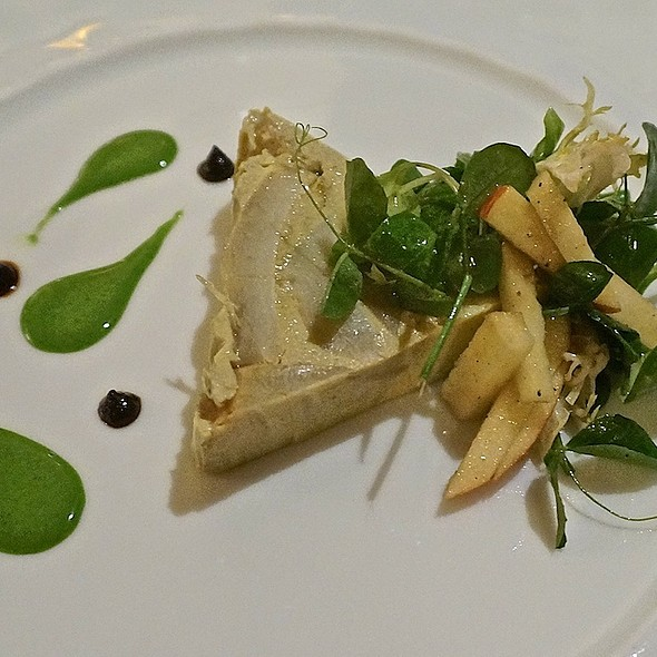 Artichoke terrine, petit salad, watercress sauce, black garlic purée - Les Nomades, Chicago, IL