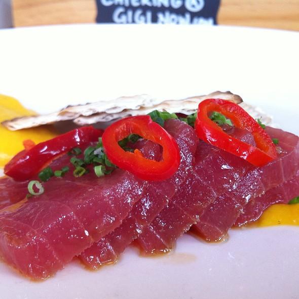Tuna Sashimi: Carrot-Ginger Purée, Fresno, Chili @ Gigi BBQ•Noodles•Beer