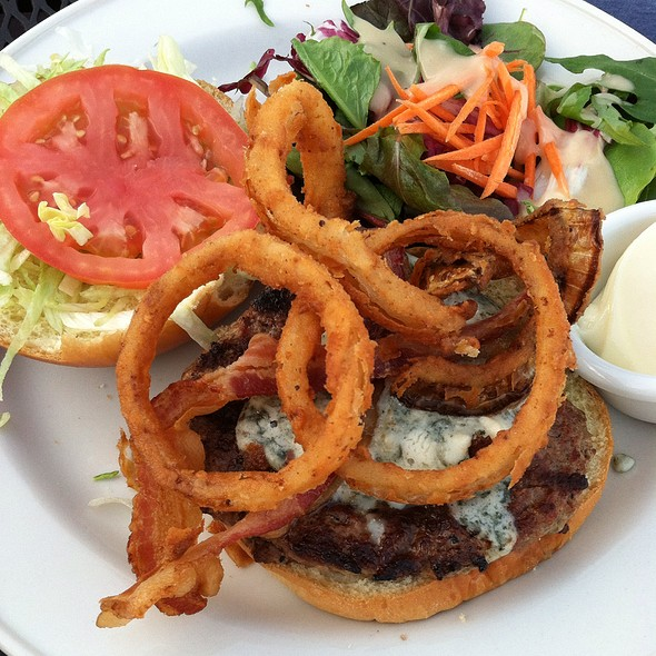 Big Bold Blue Burger, Maytag Blue Cheese, Applewood Smoked Bacon And Crispy Fried Onion Rings - Iron Hill Brewery - Wilmington, Wilmington, DE