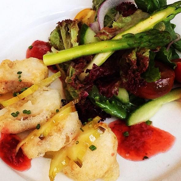 Tempura Kobia Salad Star Fruit Balsamic Strawberry Compost With Asparagus Garden Salad @ Gigi BBQ•Noodles•Beer