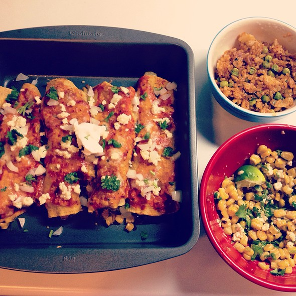 Potato & Corn Enchiladas, Esquites & Mexican Rice @ The Mistress Of Spices (Chez Moi)