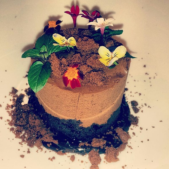 Flower Bed: Chocolate Hazelnut Mousse cake,  fudge Sauce, Chocolate Crumbles - Vista prime steaks & seafood, Snoqualmie, WA