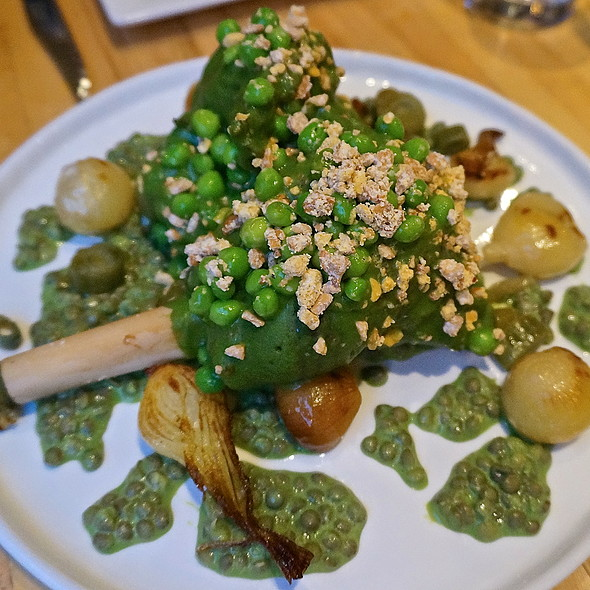 Buckner Family lamb shank, peas, spring alliums, lentils, cashew crumble, mint yogurt - The Squeaky Bean, Denver, CO