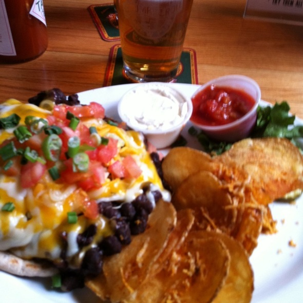 Black Bean Open Faced Sandwich With Grump Chips @ Grumpy Troll Pub & Brewery