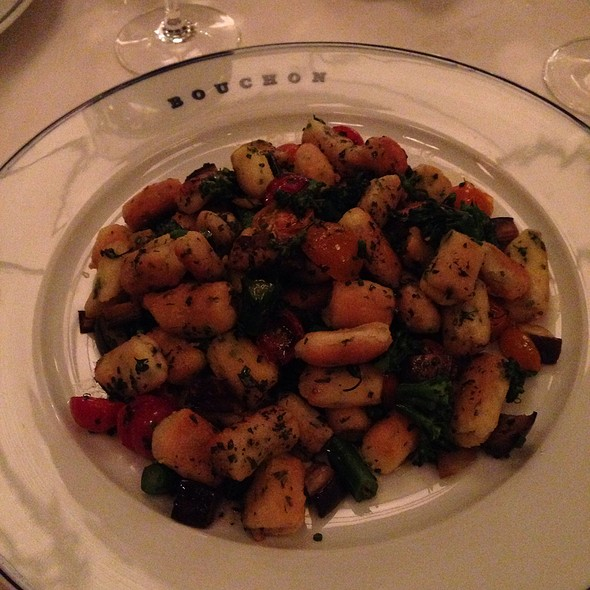 Gnocchi With Fricasee Of Spring Vegetables @ Bouchon Bistro