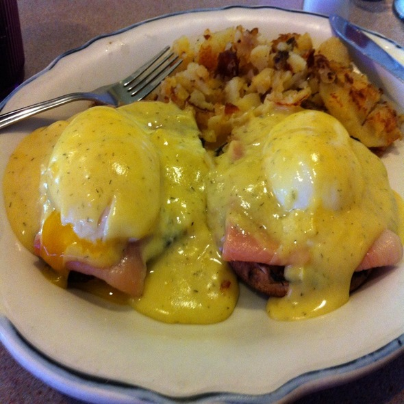 Eggs Benedict with Smoked Salmon @ Athena Diner
