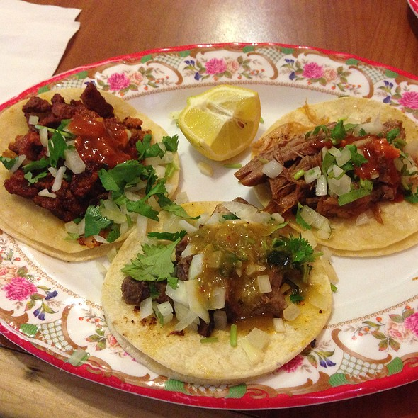 Al Pastor, Lengua, And Carnitas Tacos