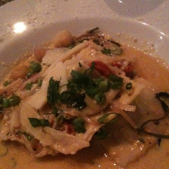 Sweet Pea And Prosciutto Ravioli With Scallops - Amelia's Trattoria, Cambridge, MA