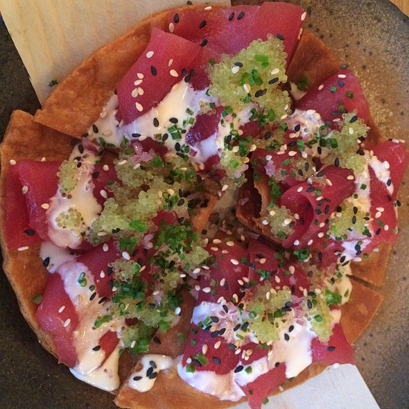 Tuna Sashimi Pizza With Truffle Ponzu, Red Onions And Green Chillies @ Kurobuta