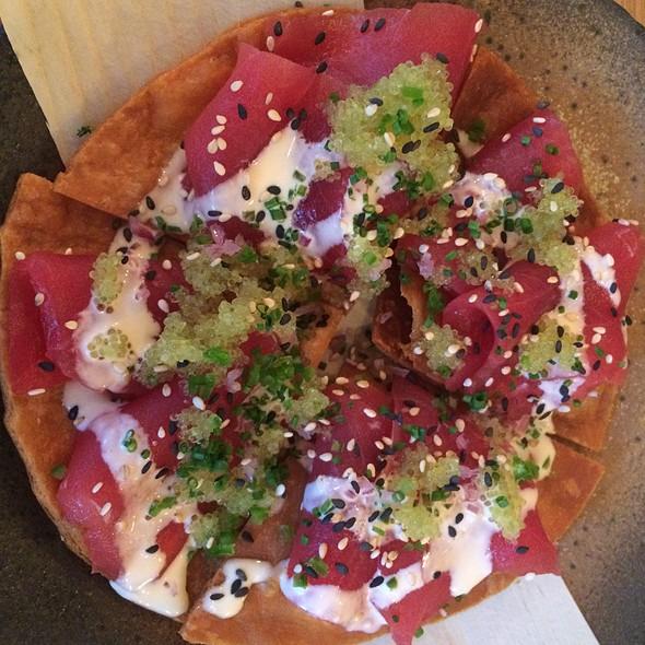 Tuna Sashimi Pizza With Truffle Ponzu, Red Onions And Green Chillies @ Kurobuta