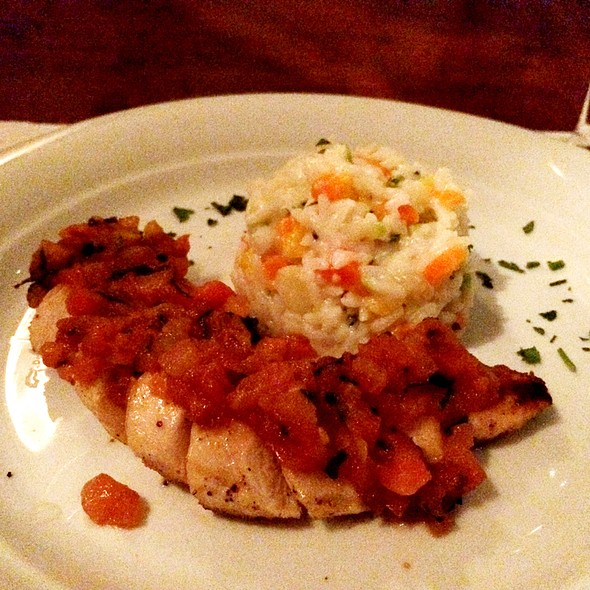 Grilled Chicken Breast With Tomatoes And Basil Sauce And Risotto @ Nostradamus