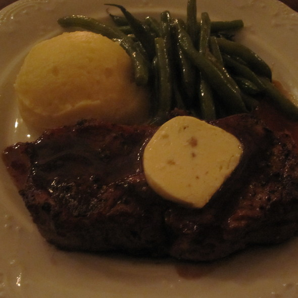 Strip loin steak with cheesy potatoes and green beans @ Dominion Square Tavern