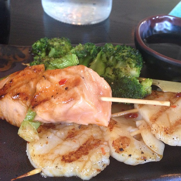 Broccoli, Salmon, Scallop Robata