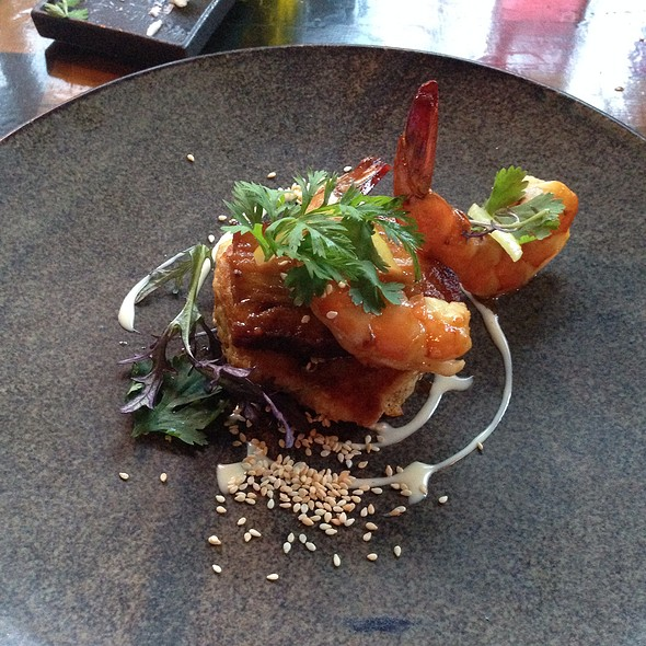 Kim-Chee Pancakes- Bbq Pork Belly, Smoked Shrimp, Sesame