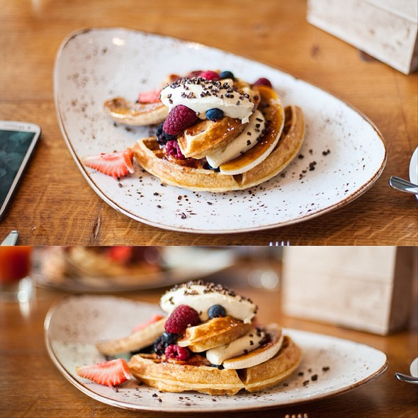 Waffle With Peanut Butter And Jelly, Topped With Chantilly Cream, Bananas Brûlée @ Duck & Waffle