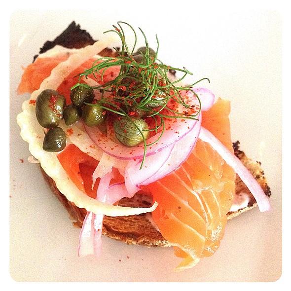 Smoked Wild Salmon Toasts  @ Rustic Tavern