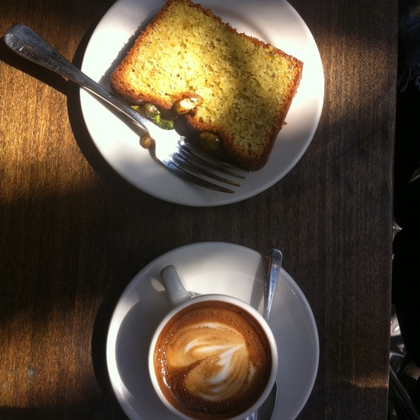 Pistachio Cake & Macchiato @ Bluebird Coffee Shop