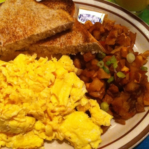 Scrambled Eggs With Home Fries And Toast @ Grey Dogs Coffee