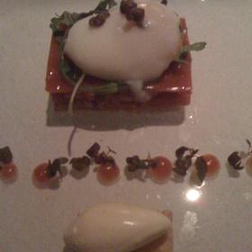 Beef Tartare w/ Gelee' of Tomato & Horseradish Ice Cream