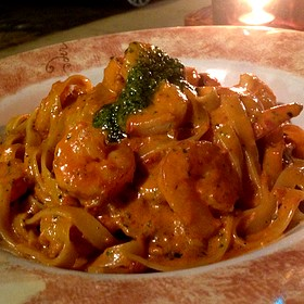 Fettuccine Al Pesto With Shrimp