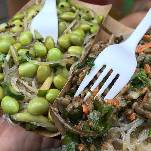 Cucumber Edamame & Kale, Lentils & Masala Noodle Salads @ Two Tablespoons