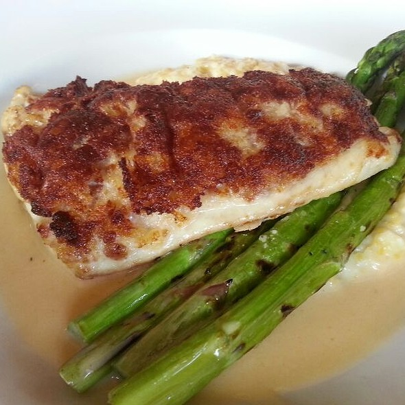 Pan Seared Redfish Over Asparagus And Grits With Watermelon Salsa @ Gabbys by the lake