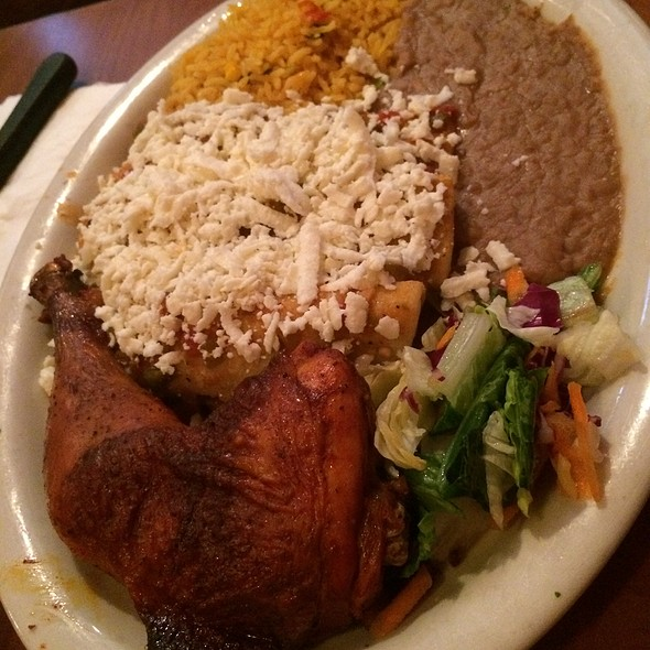 Sausage Potato Enchiladas, Chicken, Rice & Beans @ La Tapatia Taqueria