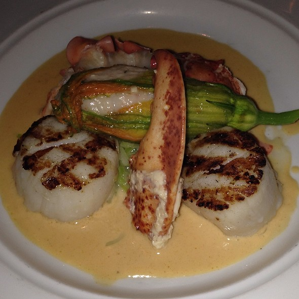 Poached Lobster, Grilled Scallops W/Stuffed Squash Blossom - Nectar - Philadelphia, Berwyn, PA