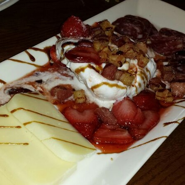 Burrata with Strawberries, Dried Sausage, And Tellegio drizzled with Balsamic - Cafe Med Restaurant, Deerfield Beach, FL