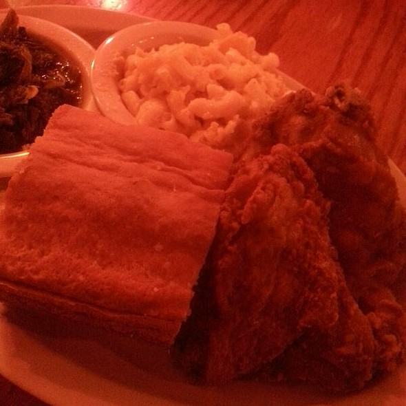 Fried Chicken, Mac And Cheese, Greens, And A Cornbread Muffin