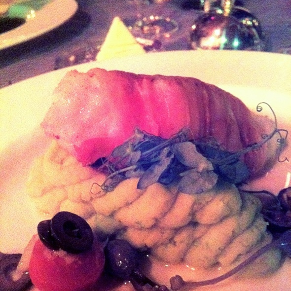 Monk Fish Wrapped In Pancetta On Split Pea Puree @ Terasa U Zlaté Studně