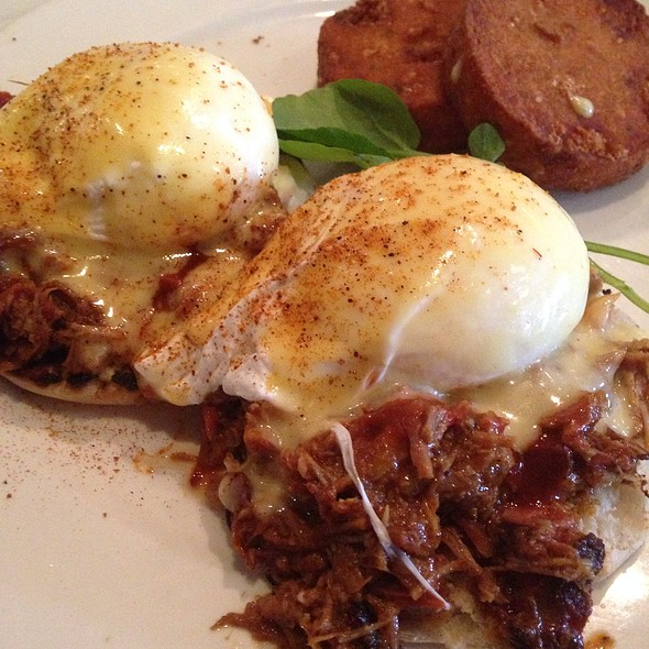 Pulled Whole Hog Bbq Eggs Benedict With Goat Cheese Potato Cakes