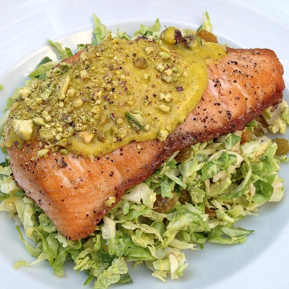 Pistachio Salmon On Brussels Sprouts
