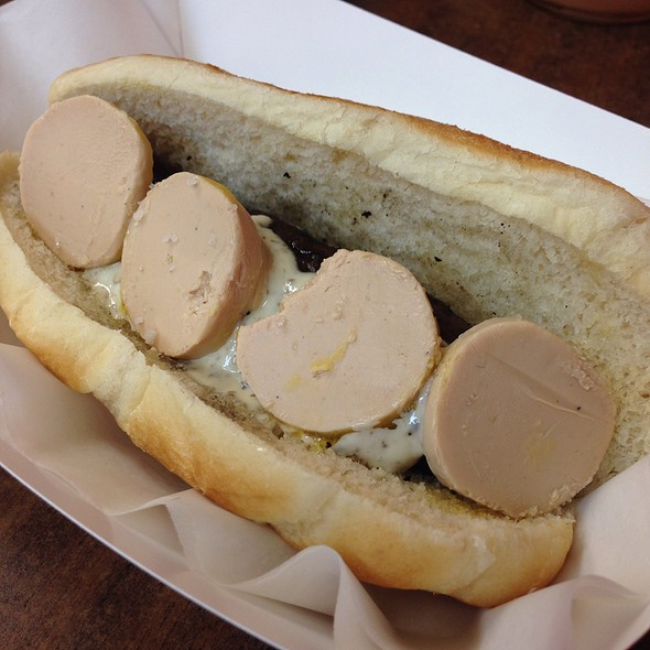 Foie Gras and Sauternes Duck Sausage with Truffle Aioli, Foie Gras Mousse and Fleur de Sel @ Hot Doug's Inc