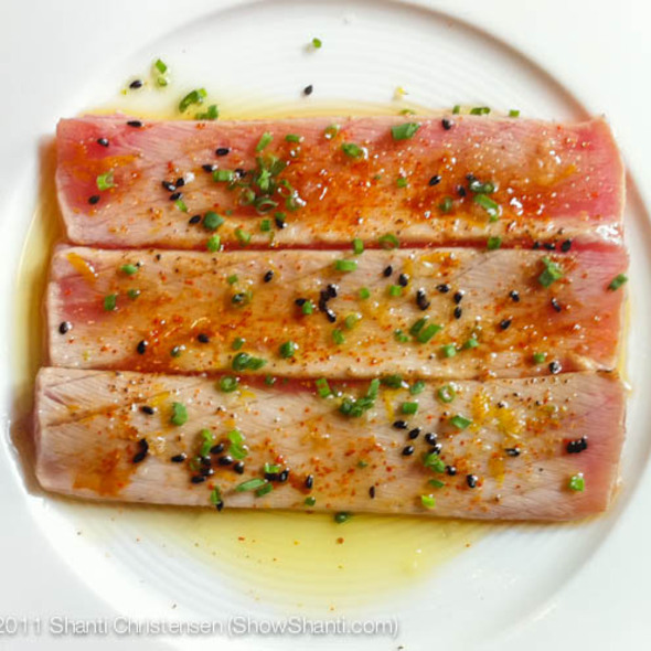 Olive Oil Flashed Blue Fin Tuna Belly @ Maison Boulud