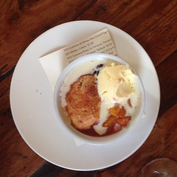 Nectarine & Blackberry Cobbler With Ginger Ice Cream - Heirloom Cafe, San Francisco, CA