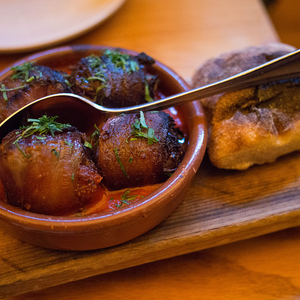 Chorizo Stuffed Medjool Dates w/ Smoked Bacon & Piquillo Pepper Tomato Sauce