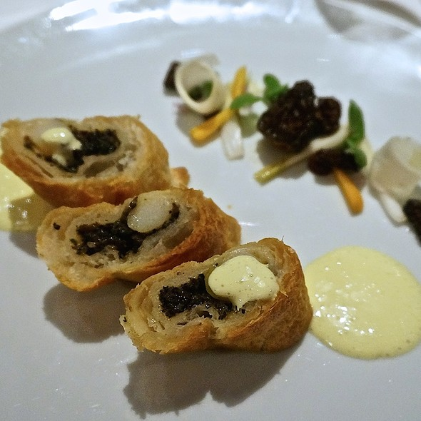 White asparagus and morel mushrooms en croute, violet mustard ...