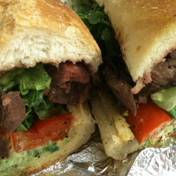 Steak & Roasted Red Pepper Sandwich @ Mooncake Foods