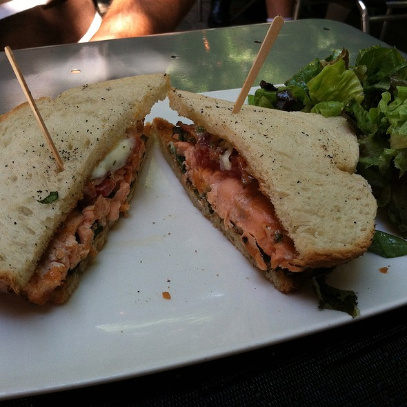 Scottish Salmon BLT, mixed greens, tomatoes apple wood smoked bacon & lemon caper aioli - Mediterra, Princeton, NJ