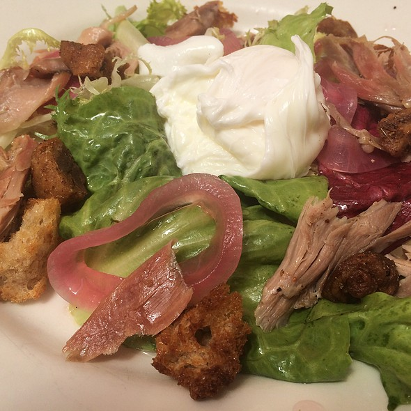 Lardons And Duck Confit Poached Egg Frisee Salad @ Foreign Cinema