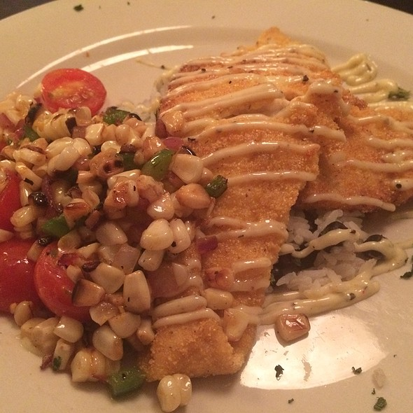 Corn Dusted Flounder With A Tomato And Corn Salsa Over Black Beans And Rice With A Jalapeño Aioli - Monocacy Crossing, Frederick, MD