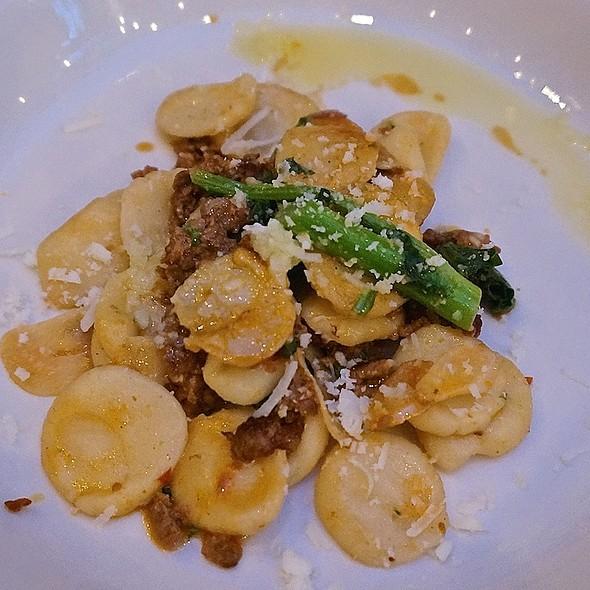 Orecchiette, spicy housemade lamb sausage, bitter greens, chilis, pecorino - Anteprima, Chicago, IL