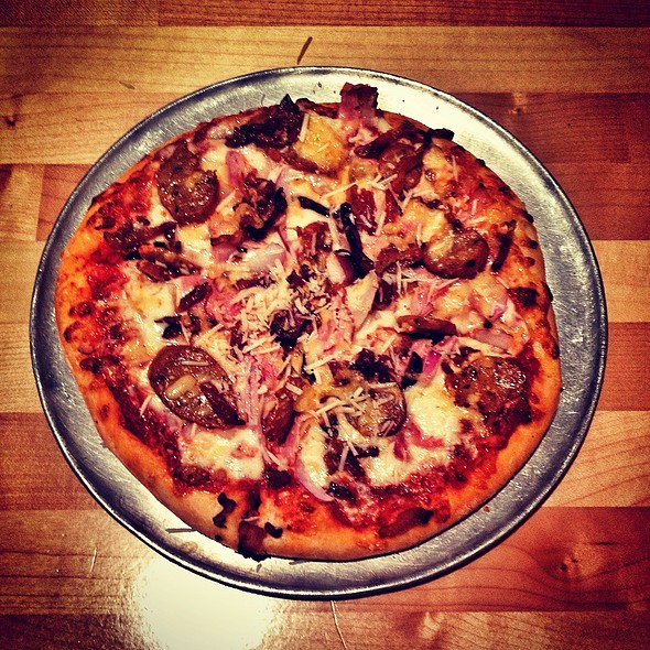 Benton's Bacon, Ham, And Andouille Sausage Pizza @ Tomato Head