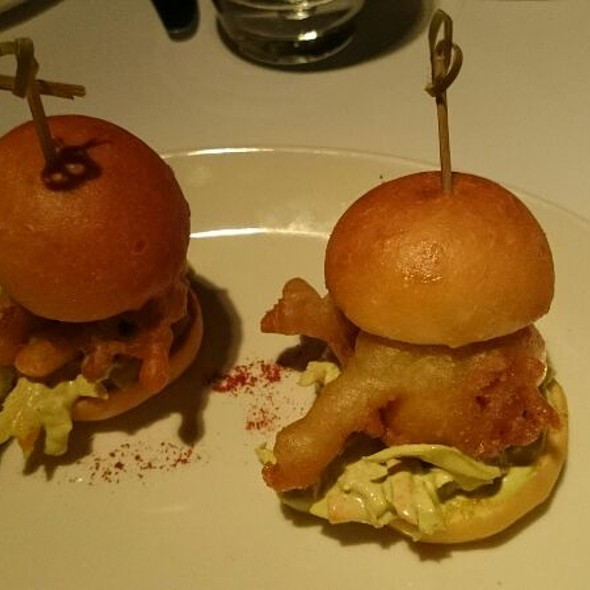 Soft shell crab sliders, brioche, Italian coleslaw and wasabi mayo. @ Sette Bello