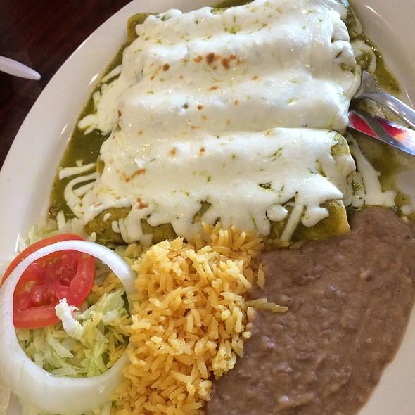 Enchiladas Suizas With Rice & Beans @ Tostada Regia