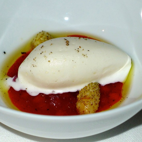 Strawberries And Cream With Mascarpone Sherbert And Tellicherry Black Peppercorn And Strawberry Syrup @ The French Laundry