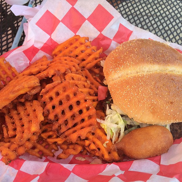 Burger and Sweet Potato Fries @ Dog and Pony Grill