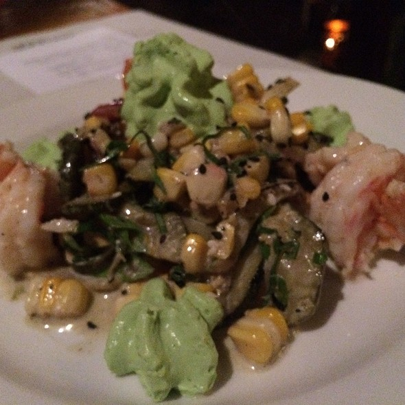 Poached Shrimp W Charred Summer Vegetable Salad & Pea Tendrils @ Zambra